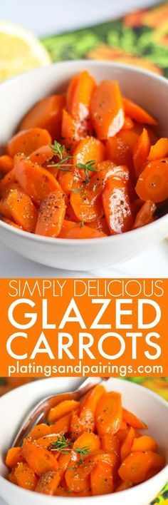 These are the BEST Glazed Carrots - Lightly sweetened, delicately seasoned, and perfectly glazed. These carrots make an amazing side dish that both kids and adults can't get enough of! | platingsandpairings.com