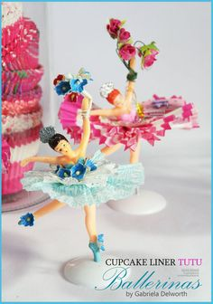 Vintage cupcake ballerina toppers in  the cutest tutus......