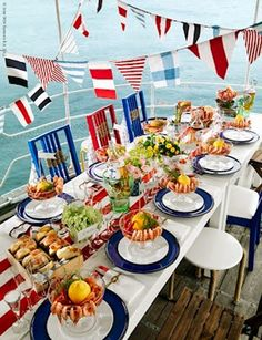 let's party in nautical style Nice with my ALready for Memorial Day and July Day decor Nautical Party, Nautical Wedding, Nautical Table, Nautical Flags, Nautical Stripes, Memorial Day, Party Decoration, Table Decorations, Centerpieces