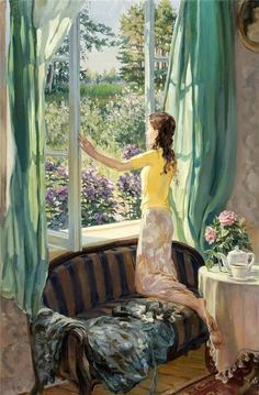 Raindrops and Roses Art And Illustration, Raindrops And Roses, Window Art, Window View, Anime Scenery, Anime Art Girl, Painting Art, Paintings, Woman Painting