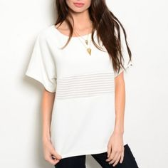 FINAL PRICE | Ivory Top + Open Knit Panel Ivory Short Sleeve Textured Boxy Top | Boxy Top with Open Knit Panel in Ivory  Scoop neckline Short sleeves Textured knit Open knit panel at chest Open knit panel from shoulder down sleeves  95% polyester, 5% spandex Machine wash cold Tops Tees - Short Sleeve