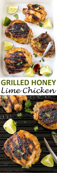 Super Easy Grilled Honey Lime Chicken. Sweet, zesty and crispy on the outside…