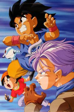 Goku, Pan, Trunks, and Giru