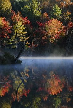 Foggy Foliage Sunrise Over the Souhegan River, New Hampshire