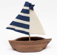 Fondant sailboat cake topper by SeasonablyAdorned on Etsy