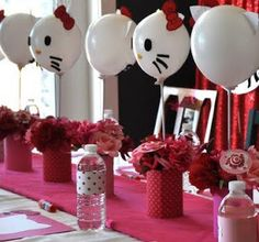 Party Frosting: Hello Kitty Party Ideas and Inspiration balloon centerpiece table runner