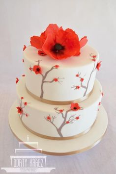 Wedding cake - hand painted - red flowers by Lenka Budinova - http://cakesdecor.com/cakes/284473-wedding-cake-hand-painted-red-flowers