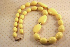 Napier Yellow Beaded Necklace - Vintage Early 1990s by FrogTears on Etsy