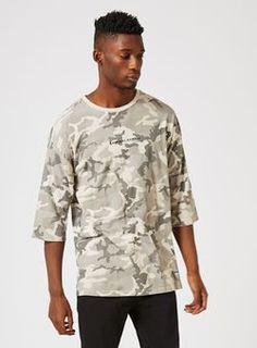 CRIMINAL DAMAGE Grey Camo Longline Three Quarter Sleeve T-Shirt*