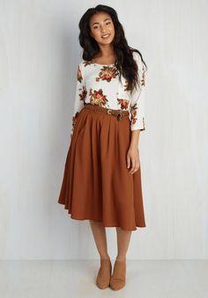 Knee-length skirts (pockets are bonus) - Breathtaking Tiger Lilies Midi Skirt in Orange, #ModCloth