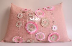 Sukan / Pink Pattern Linen Pillow Cover Lumbar Pillow by sukanart, $70.00 - ETSY; <3<3<3FOR YOUR LITTLE PRINCESS(?) OR YOU - SHABBY CHIC<3<3<3 @