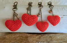 Heart Bag Charm crocheted with red embroidery thread. Love