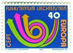 "Liechtenstein postage stamp: Europa horn    c. 1973, Europa CEPT issue    designed by Leif Frimann Anisdahl    ""...The design that year, a stylised post horn, was made by the Norwegian artist Leif Frimann Anisdahl (24 countries ; 50 stamps). The 3 arrows are said to represent CEPT's primary objectives: posts,telgraphs and telephone services..."" —via Europa-Stamps blog"