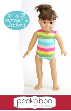 "18"" Doll Swimsuit & Leotard - Peek-a-Boo Pattern Shop"