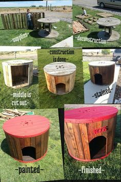 Dog Furniture - Dog Moga - Aleinad Regieg - Dog Furniture - Dog Moga Could turn this into a dog house also. Hen house made from a wire spool and pallets. Octagon Picnic Table, Build A Dog House, House Building, Dog Furniture, Pallet Furniture, Furniture Cleaning, Furniture Online, Furniture Outlet, Furniture Stores