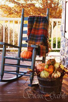 such a pretty fall porch scene stonegable tartans on the