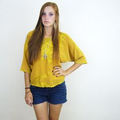 Dijon Yellow Dolman Sleeve Floral Deco by SunshineintheCellar, $24.00