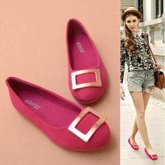 Street Metal Square buckle Leather Cow Circle Head Flat Shoes