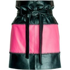 Leka - Black & Pink Leather Skirt (£365) ❤ liked on Polyvore featuring skirts, mini skirts, leather miniskirt, pink leather belt, elastic waist mini skirt, real leather belts and short pink skirt