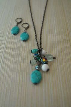 Turquoise Bead Necklace and Earring Set by twinkleavenue on Etsy, $18.50