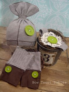 Boy and girl twins photo prop set upcycled hat by BowTweetBabies, $28.00