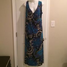Slinky brand maxi dress. Faux wrap around. Like new. 95% poly/5% spandex. Dresses Maxi