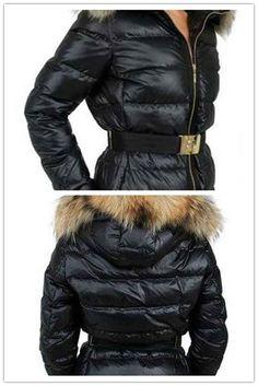 Moncler Angers Womens Jackets Decorative Belt Hooded Black Sale