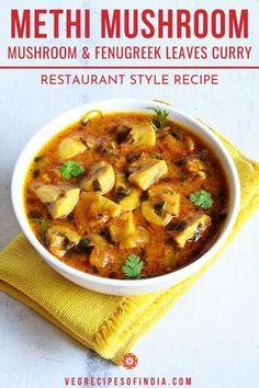 Vegetarian Recipes Easy, Vegan Dinner Recipes, Curry Recipes, Cooking Recipes, Veg Recipes Of India, Indian Food Recipes, Punjabi Recipes, Gujarati Recipes, Mushroom Gravy Recipe Indian