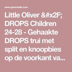 """Little Oliver / DROPS Children 24-28 - Gehaakte DROPS trui met split en knoopbies op de voorkant van """"Merino Extra Fine"""". Maat 3 - 12 jaar. - Gratis patronen van DROPS Design"""
