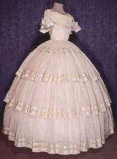 Original mid 19th century cotton batiste ballgown. by kathie