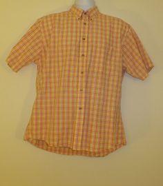 Pendleton Button Up Shirt Men Large Red Plaid Short Sleeve EUC! 100% Cotton Comfy  $21.99