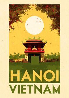 Classic Travel Destination Poster For Nanoi, Vietnam