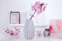 Fluted Concrete Porcelain Matte Grey Vase designed in United Kingdom