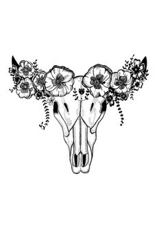 Cow Skull Illustrated Print hand drawn by MhairiStella on Etsy Cow Skull Tattoos, Cowgirl Tattoos, Skull Tattoo Flowers, Head Tattoos, Animal Tattoos, Body Art Tattoos, Sleeve Tattoos, Toros Tattoo, Desert Tattoo
