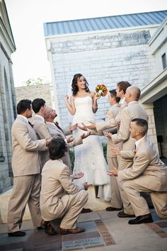 Groomsmen and bride....love the fun silly pictures!