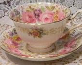 ROYAL ALBERT Teacup and Saucer, Serena Pattern, England, Vintage MINT Condition