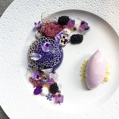 Textures of lavender dessert with lavender-earl grey cake, lavender sponge, lavender gelée, gel, meringue, blackberries, white chocolate soil, and lavender ice-cream by @royalebrat #TheArtOfPlating
