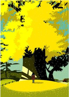 illustration,Gaku Nakagawa. Great golden autumn tree, vector flat poster style.