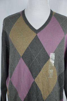 Claiborne Mens XL Charcoal Gray Purple Argyle V-Neck Sweater NEW Long Sleeve #Claiborne #VNeck Mens Xl, Online Price, Charcoal, Gray Color, Men Sweater, V Neck, Purple, Grey, Best Deals