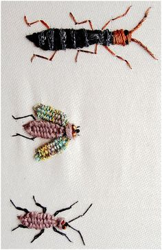 I ❤ embroidery . . . Week 44 Woven Picot Beetles. There is a short description of threads used at crazyqstitcher.wordpress.com/