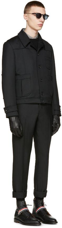 Thom Browne: Black Wool Twill Jacket | SSENSE
