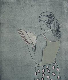 "Saatchi Art Artist Karoline Kroiß; Printmaking, ""reading girl / Leserin"" #art"