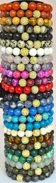 Multi Colored Semi Precious Gemstone Beaded Bracelets $21