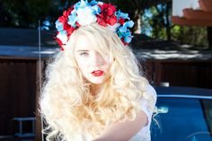 Beautiful Red White & Blue One Of A Kind Flower Crown Headband
