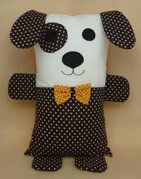 Little dog puppy. Sewing Stuffed Animals, Stuffed Animal Patterns, Kids Pillows, Animal Pillows, Sewing Crafts, Sewing Projects, Craft Projects, Fabric Toys, Fabric Scraps