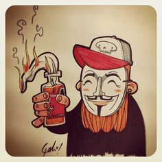 Otro V #vendetta #anon #anonymous #doodle #illustration #Sketch #draw #bearded