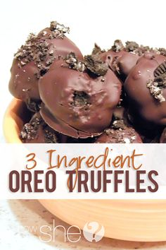 Food and Drink. 3 Ingredient Oreo Truffles! These things are good and bad...because I can't stop eating them!  Recipe at howdoesshe.com