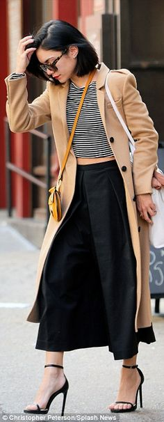Style chameleon: Vanessa Hudgens went from grunge to glam on two outings in New York on Sunday