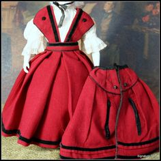 AMAZING Huret-Style Wool Pinafore Dress and Cape from signaturedolls on Ruby Lane NOT ANTIQUE BUT VERY WELL DONE