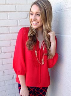 Smooth Sailing Blouse in Red http://www.fabfindsboutique.com